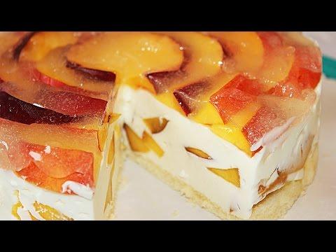 Творожный торт с персиками. Без выпечки!