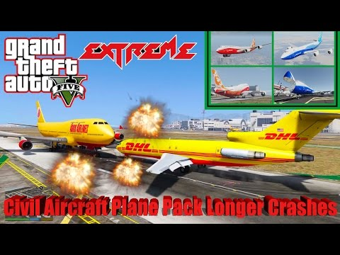 GTA V: New Updated Civil Aircraft Plane Pack Extreme Longer Best Crash Compilation