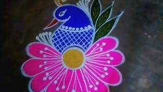 Colourful Peacock Flower Rangoli Kolam|Rangoli Designs Without Dots|Simple Sankranthi Muggulu