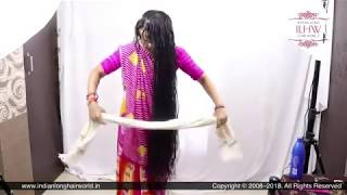 ILHW Rapunzel Manju Drying Her Knee Length Washed Wet Hair By Traditional Towel Drying Method