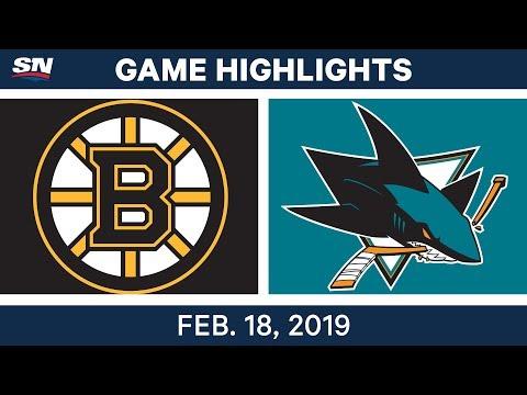 NHL Highlights  Bruins vs. Sharks - Feb 18, 2019