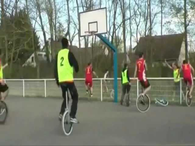 Unicycle Basketball Player Flips Over Fence
