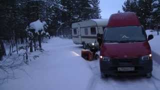 snow camping, заполярный караванинг, caravaning to north of polar circle