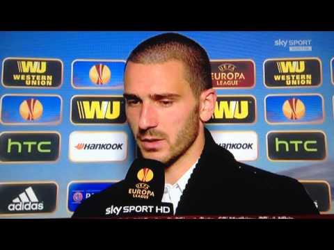 Intervista Leonardo Bonucci post partita Juventus-Benfica EL
