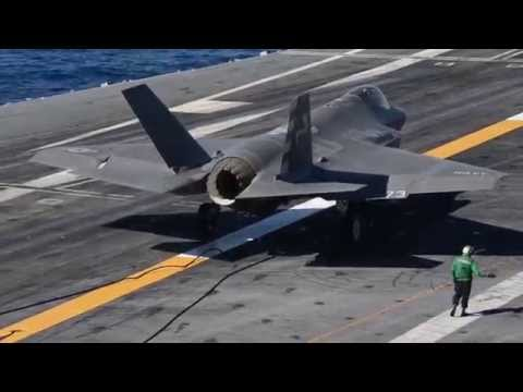 F-35C Completes First Arrested Landing aboard Aircraft Carrier #3