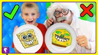 HobbyHarry Pancake Art! Make SpongeBob, Super Mario and a Dino-- Challenge PART 2