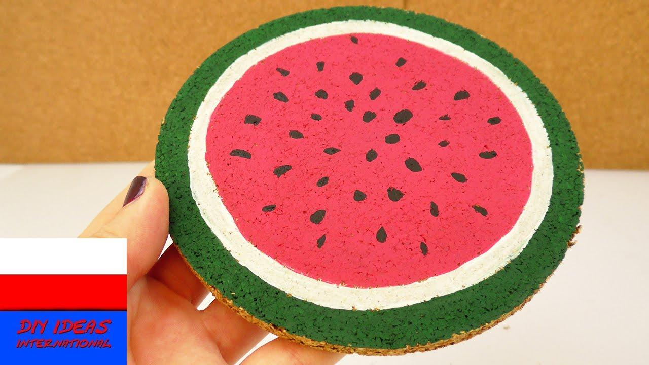 Podstawka korkowa z arbuzem | świetny pomysł dekoracji na lato
