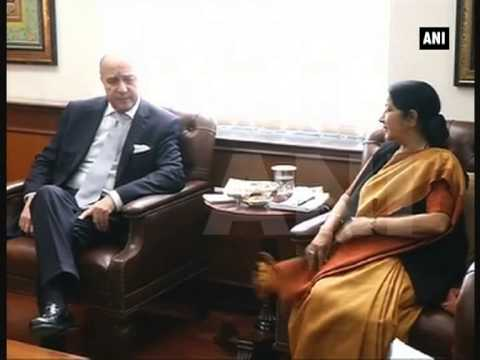 French Foreign Minister Laurent Fabius meets Sushma Swaraj