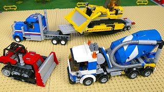 Lego Concrete Mixer, Excavator, Dump Truck, Police Cars & Tractor Construction Toy Vehicles for Kids