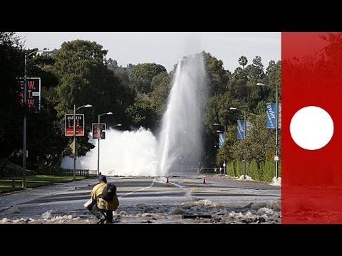 Video: Burst water main floods Sunset Boulevard and UCLA