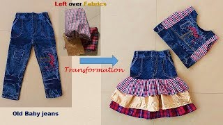 Transform Old Baby jeans To Designer Skirt Top Full Tutorial