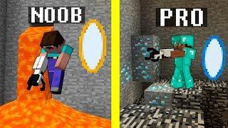 Minecraft Noob vs. Pro : PORTAL GUN challenge - funny Minecraft battle