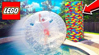 MASSIVE LEGO TOWER vs GIANT HAMSTER BALL!