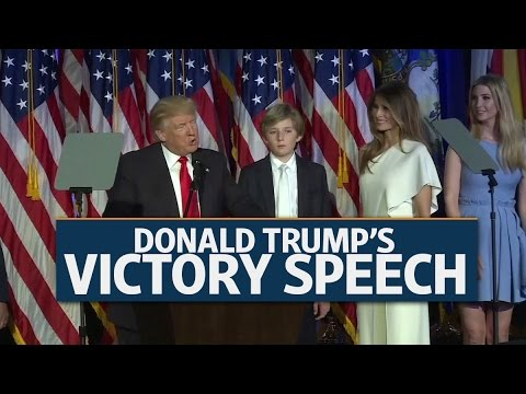 Donald Trump's victory speech: 'I will be president for all of Americans'