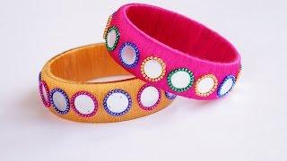 Silk thread simple mirror fancy bangle making