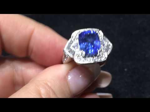 18k gold GIA certified blue Ceylon sapphire diamond ring fo