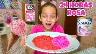 24 HORAS SÓ COMENDO COMIDAS ROSA !!!