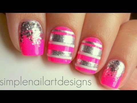Pink and Silver Stripes and Glitter Gradient Nails