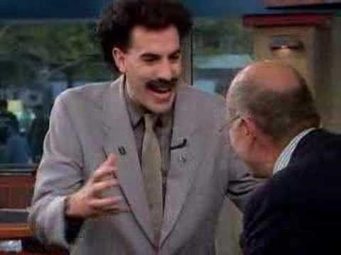 Borat wrestles Harry Smith