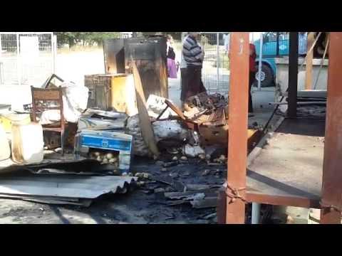 Gheretă incendiată în piața din Orhei