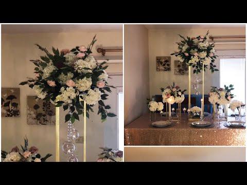 DIY- Wooden Dowels centerpiece DIY- tall centerpiece DIY- wedding decor - YouTube