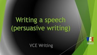 Writing a speech (persuasive writing) - French VCE text types