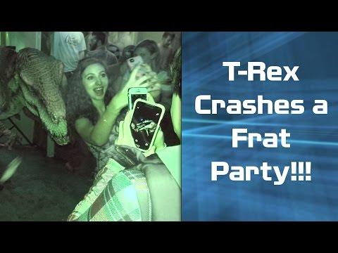 Animatronic Dinosaur Crashes a Frat Party - Jurassic World!