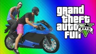 GTA 5 Online Funny Challenge - Backwards Driving w/ Motorcycles & Jet Planes (GTA 5 Funny Moments)