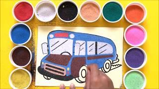 Chị Chim Xinh TÔ MÀU TRANH CÁT XE BUÝT 2 TẦNG - Đồ chơi trẻ em - Colored sand painting toys