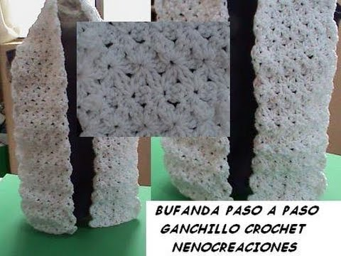 1 DE 2 COMO TEJER BUFANDA PUNTADA JAZMIN ESTRELLAS GANCHILLO CROCHET