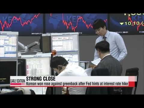 Korean won surges vs. dollar on Fed′s dovish stance   美 연준 비둘기파 입장에 환율 13원 급락