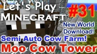 Let's Play Minecraft Survival (Part 31) - Semi Auto Cow Farm