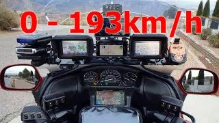 Honda Gold Wing GL1800 - Acceleration 0-193km/h & Startup & Exhaust Sound & Burnout & Speed