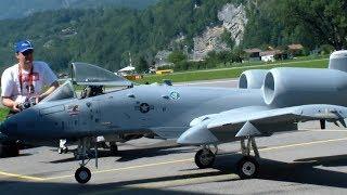 Huge Scale Turbine RC Model Jet Warthog A-10 over Meiringen AFB