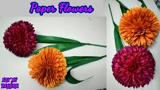How To Make Round Paper Flower - DIY Paper Craft | artmypassion