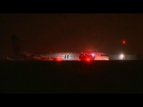 Air Canada Flight Crash Lands, Skids Off Runway