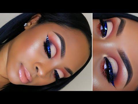 Half Cut Crease with Blue Glitter Eyeliner! | Makeup Tutorial