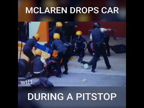 McLaren dropping the car during practice pitstop