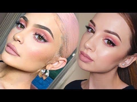KYLIE JENNER Inspired Makeup Tutorial   Pink Smokey Eye