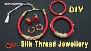 How to make Silk Thread Jewelry Set | Necklace, Bangle, Jhumka, Bali  | JK Arts  1135