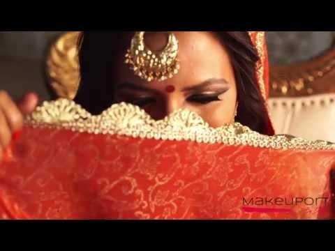 Metallic golden eyes, red lips | Arabic Bridal Makeup