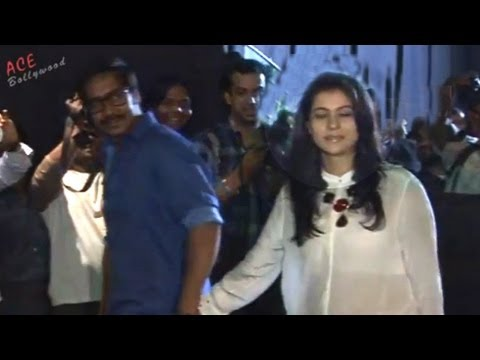 Kajol in Transparent Top Spotted With Ajay Devgan