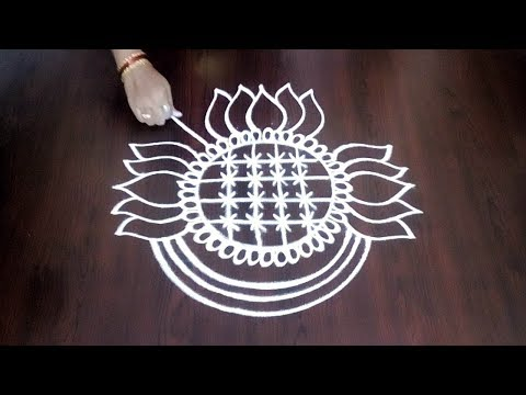 Latest Lotus Kolam|| Freehand Lotus Design || Simple & Easy Rangoli || Fashion World & Rangoli