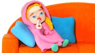 BABY ELSA HAS A COLD ❤ SUPERHERO PLAY DOH CARTOONS FOR KIDS