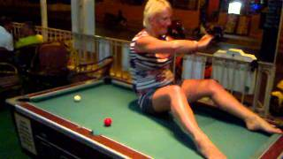 sally on pool table