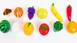 Learn Fruit and Vegetable Names with Hello Kitty Dough and Cookie Molds Surprise Toys