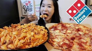 Creamy & Cheesy! Domino's Pepperoni Pizza & Creamy Beef Shell Pasta Recipe - Cooking & Mukbang Asmr