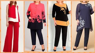 Homeyee women elegant two peace pents with blouse and top designs and Ideas for girls 2019