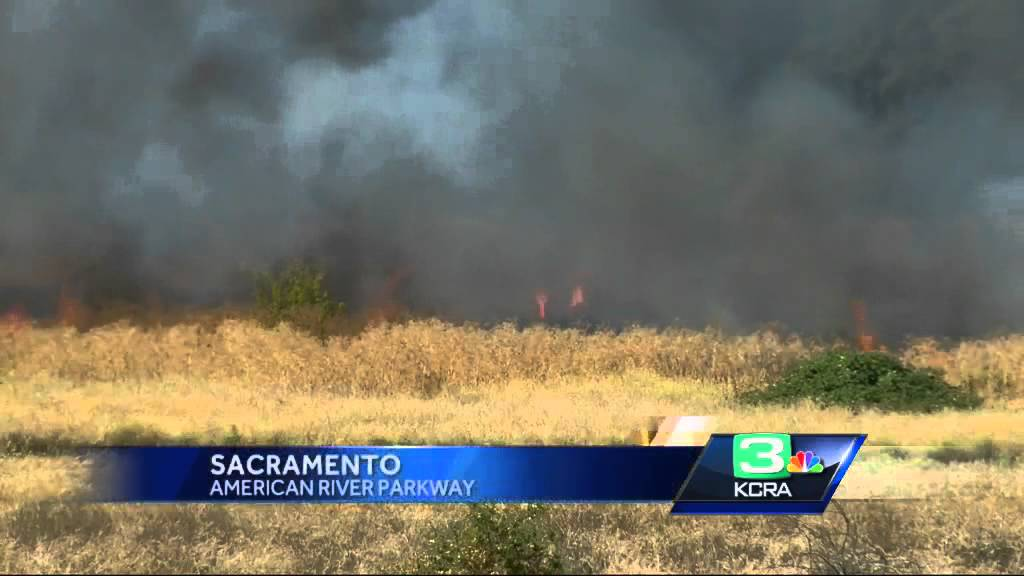 Crews battle several grass fires near American River Parkway