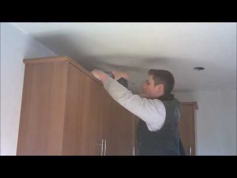 how to fit cornice and lighting pelmet for a kitchen